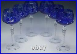 Cobalt Cut To Clear Lausitzer Germany Set Of 6 Hock Goblets 8