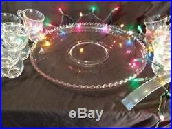 Complete Candlewick Punch Bowl Set 17 pcs. Bowl, Underplate, Ladle & 14 Cups