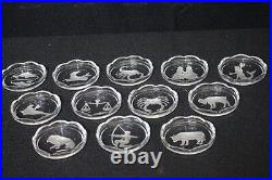 Complete Set of 12 Vintage VAL ST LAMBERT Crystal 3.5 ZODIAC Scalloped Coasters