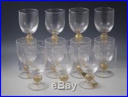 Cristalleria Etruria Italy Set Of 11 Wine Goblets -gold Ball Optic Vietri
