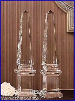 Crystal Pedestal Obelisk Statue Finial Figurine Home Decor Tall 21 Set Of 2