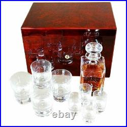 Crystal Whisky Decanter, Tumbler and Shot Glass Set in a Makah Burlwood Box