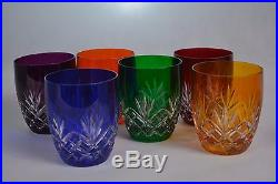 Crystal glass Whisky Tumblers set of 6 from Poland HANDMADE Color mix