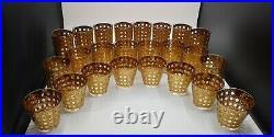 Culver Canella Barware Set of 24 -22K Gold Rattan Pattern Design Glass MCM Rare