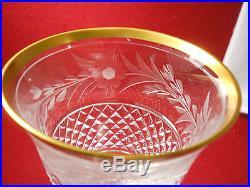 EBELING & REUSS crystal MARQUIS pattern Set of 8 Gold Trim Wine Goblets 6-1/4
