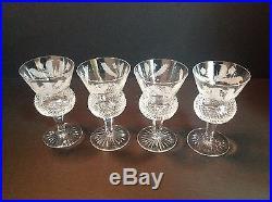 Edinburgh Crystal Claret Wine Glass Thistle Pattern Etched Signed Set of 4
