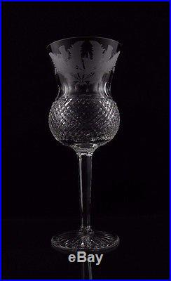 Edinburgh Crystal Thistle Etched Water Goblet Glasses, Set of (6), Rare, 7 3/8
