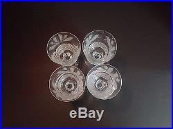 Edinburgh Crystal White Wine Glasses Thistle Pattern Etched, Signed Set of 4