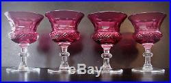 Edinburgh Scottish Set of 4 Antique Thistle Cranberry Wide Mouth Cordial Glasses