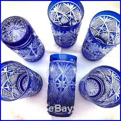 Excellent SET of 6 Double Shot GLASSES Cobalt Blue Cut Crystal 4 tall Vintage