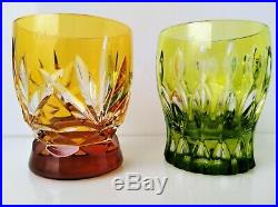 FABERGE NA ZDOROVYE MULTICOLORS glasses hand cut 24% lead crystal set of 6