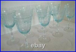 FOSTORIA Blue Navarre LARGE CLARET WINE Set of 8 Crystal Goblets 6 3/8