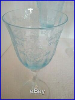 FOSTORIA Blue Navarre Set of 8 Large CLARET WINE Crystal Goblets 6 3/8 EUC