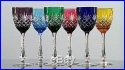 Faberge Odessa Set of 6 Tall Wine Hocks Goblets Colored Cut to Clear Fabergé