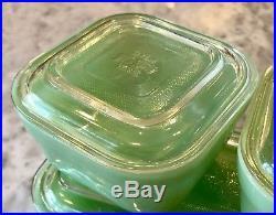 Fire King Jadeite Colonial Rim Refrigerator Dish Set Crystal Lids Jadite