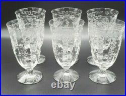 Fostoria Navarre Crystal Etched Tea Water Glasses Goblet 5 7/8 Set of 6 Vintage