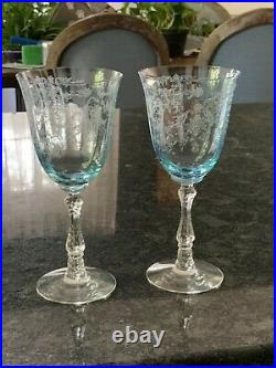 Fostoria Navarre Crystal Etched Water Goblets Set of 2