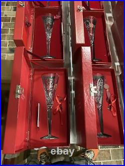Full Set Waterford Crystal Champagne Flutes 12 Days of Christmas Lot Boxed Mint