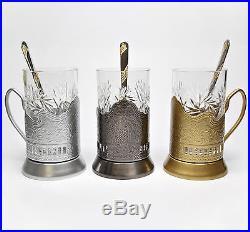 GOLD Set of 6 Russian Vintage Crystal Tea Glass & Handmade Holder Podstakannik