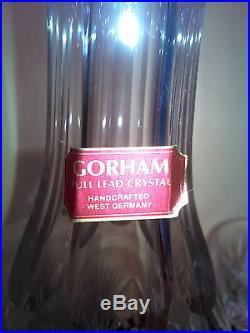 GORHAM CHERRYWOOD Crystal Cordial Set NIB Decanter & 8 Cordials Stickers 1986