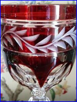 German-Tharaud set of 6-Ruby Cased Cut to Clear Crystal Wine Glasses