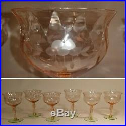 Gorgeous Set Of 6 Etched Watermelon Diamond Optic Crystal Glasses