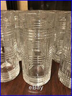 HUGE LOT SET of 18 Ralph Lauren Glen Plaid Crystal Highball Glasses Tumblers WOW