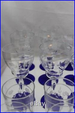 HUGE SET 58 Depression Cut Glass Louie Cobalt Blue Crystal Stemware Weston