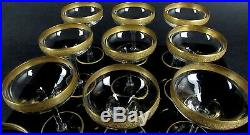 Hawkes Deco Crystal Champagne Enameled Gold Rim Sherbert Glasses Set of 12