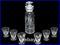 Heisey Fox Chase Silhouette Etching #4225 Cocktail Shaker Set