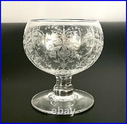 Heisey Set Of 4 Orchid Etched Seafood Cocktail Glass & Liner/ Icer Rare