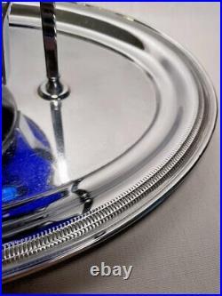 Imperial Ritz Blue Shaeffer Decanter set on Gimbaled service tray & Rose bowl