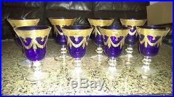 Interglass Italian Crystal Set of 7 Navy Blue Wine Glass Goblet 24K Gold 2 sizes