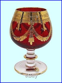 Interglass Italy SET OF 2 Red Crystal Cognac Snifters Goblets, 24K Gold 12 oz