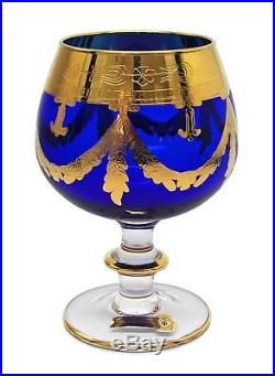 Interglass Italy Set of 2 Crystal Blue Cognac Snifters DOF glasses, 24K Gold