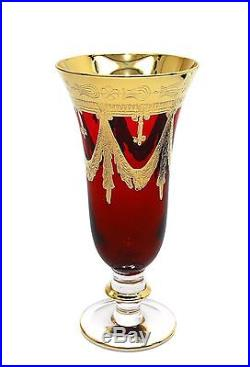 Interglass Italy Set of 6 Glasses Red Crystal Champagne Flutes, 24K Gold