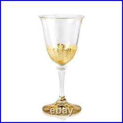 Intrada Italy Salute Oro White Wine Glasses Gold 3.2 x 7 Set of 6 Made In Italy