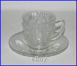 Jeannette Glass IRIS AND HERRINGBONE Crystal Demitasse Cup and Saucer Set RARE