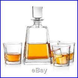 JoyJolt Luna Whiskey Decanter Set, 5 Piece Set, 22 oz Decanter with 4 Glasses
