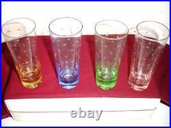 Kate Spade Lenox LARABEE DOT POP Mojitos SET/4 glasses Crystal 4 Colors 9oz New