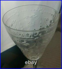 Kosta Boda Elaborate Floral Cut Crystal 7 Inch Wine Water Goblets Set of 10