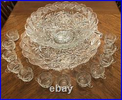 L. E. SMITH GLASS CO. HOLIDAY PUNCH BOWL 15 PC SET Underplate 12 Cups Ladle