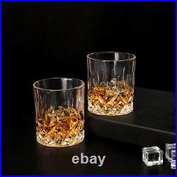 LANFULA Old Fashioned Whiskey Glass 10 Oz Scotch Rock Glassware Barware Set of 4
