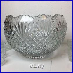 Large Vintage Punch Bowl Set L. E. Smith Glass Co. Pineapple 15 Cups Ladle Party