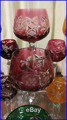 Lausitzer Crystal Cut To Clear Purple Green Blue Wine Hock Glass 8 Set Lot 10