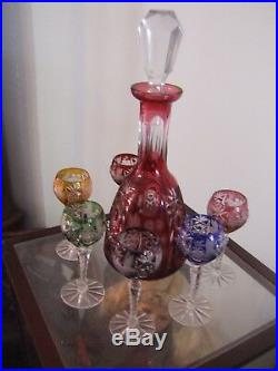 Lead Crystal COLORED WHISKEY Decanter and Glasses SET, FREE SHIPPING