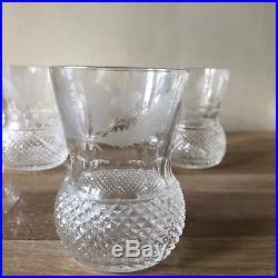 Lovely Set of 6 Edinburgh Crystal Thistle 4 High Old Fashioned Glasses