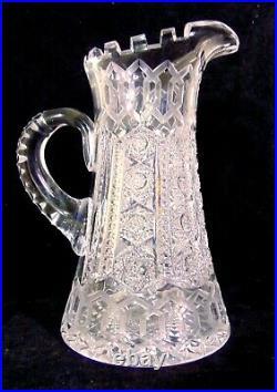 MERIDEN ALHAMBRA ABP Brilliant Cut Glass GLASS CRYSTAL Pitcher Tumbler Water Set
