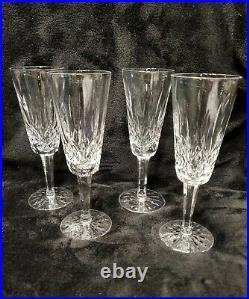 MINT Set Of 4 Waterford Crystal Lismore Champagne Flutes, Older Mark, Stunning
