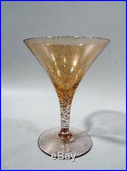 Midcentury DOROTHY THORPE Crystal GOLD FLECK Set 6 Cocktail Goblets